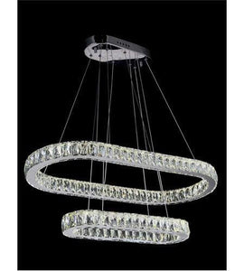 "33"" LED Chrome with Crystal 2 Layers Chandelier"