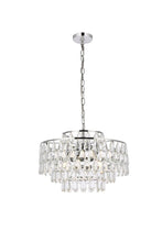 "Load image into Gallery viewer, 20"" Chrome with Crystal 6 Layers Chandelier"
