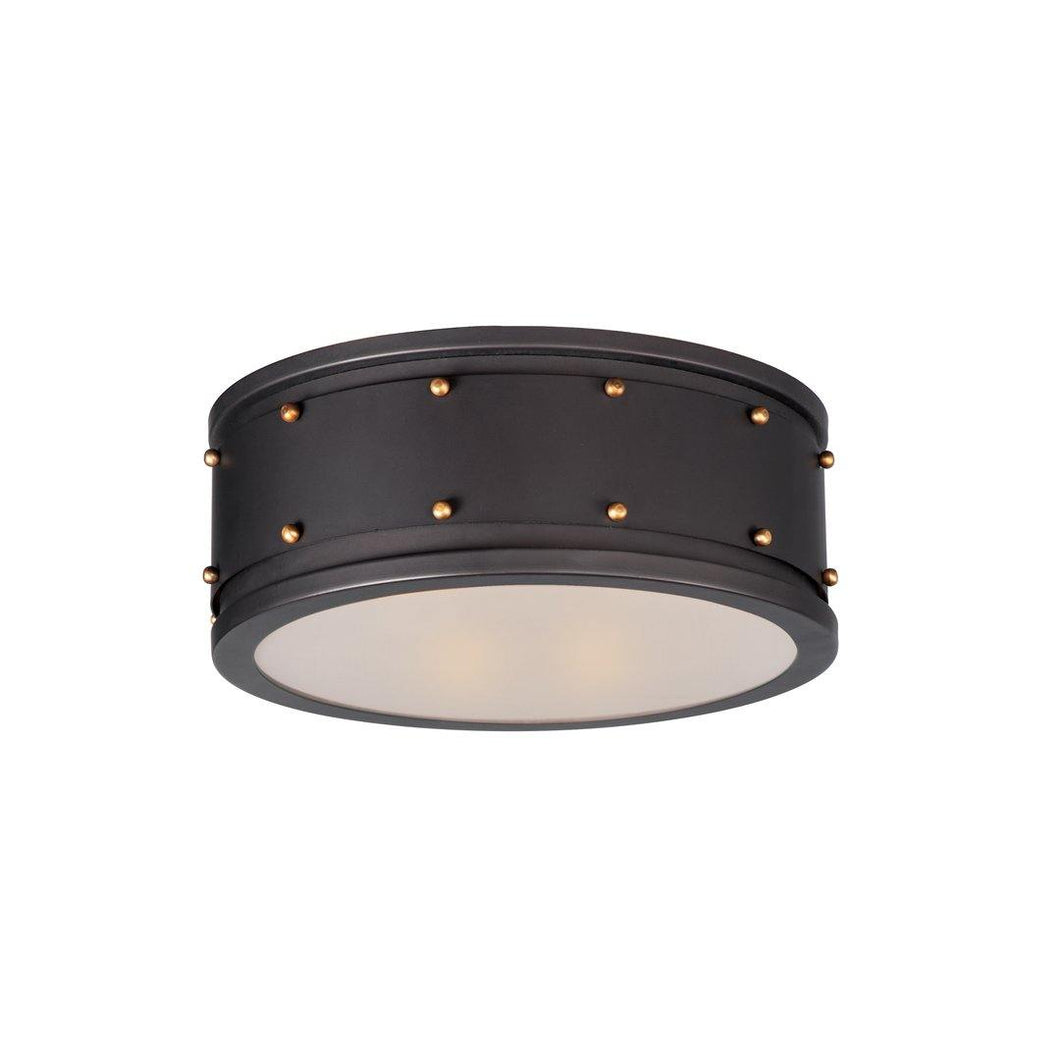 Bronze with Frosted Glass Flush Mount