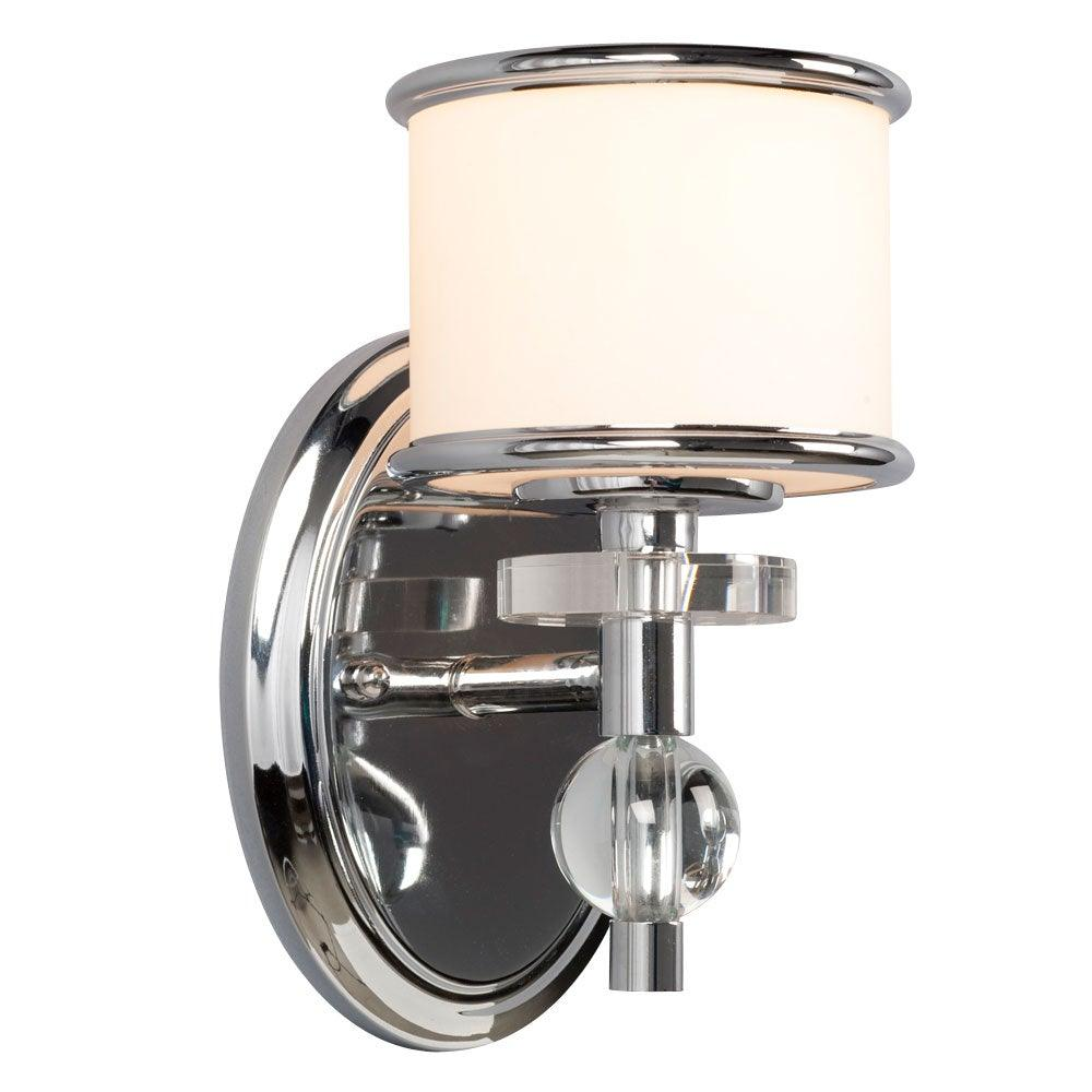 Chrome with White Glass Vanity Light - LV LIGHTING