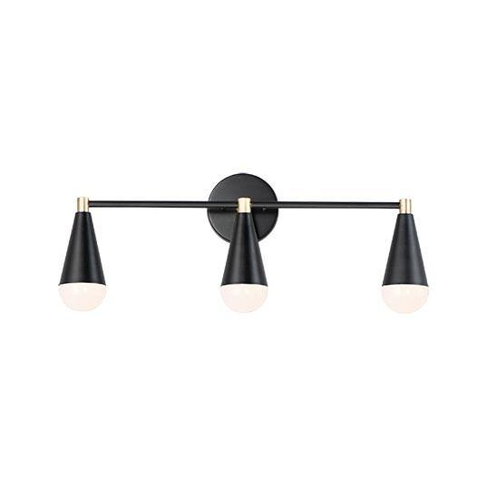 Black with Brass 3 Light Vanity Light