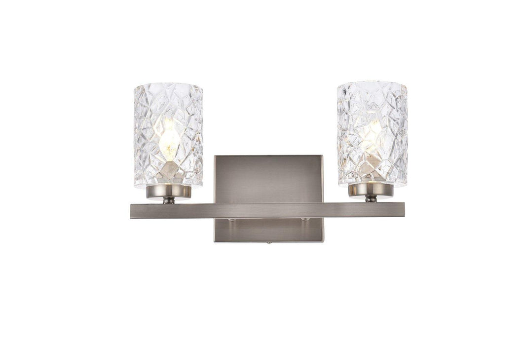 Stain Nickel with Clear Shade Vanity Light
