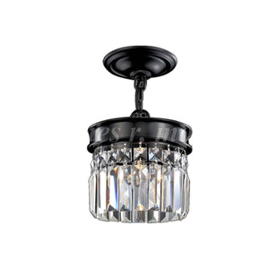 "7"" Black with Crystal Semi Flush Mount - LV LIGHTING"