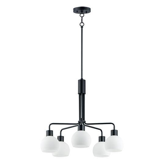 Black with Frosted Shade 5 Light Chandelier
