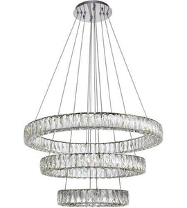 "32"" LED Chrome with Crystal Tripple Ring Pendant"