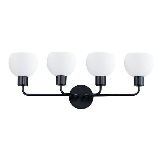 Black with Frosted Shade 4 Light Vanity Light