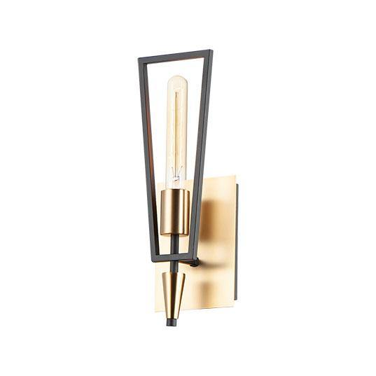 Black with Satin Brass Single Light Wall Sconce