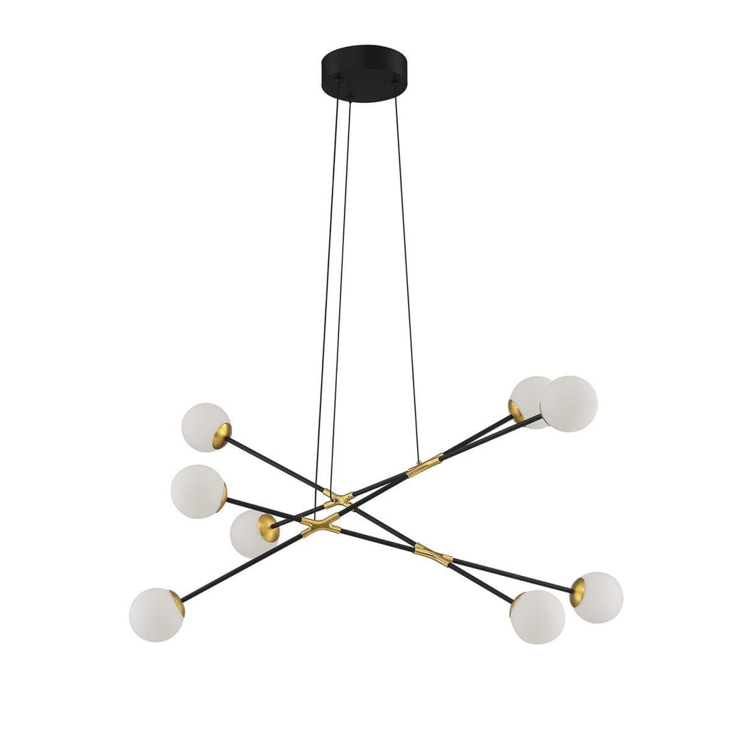 Black and Brass with Frosted Shade 8 Light Chandelier