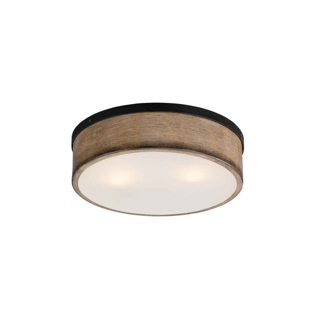 Black with Driftwood 2 Light Flush Mount