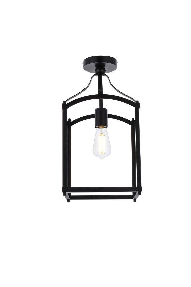Black with Single Light Flush mount