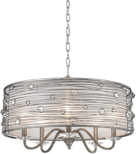 "24"" Silver with Crystal Shade Chandelier - LV LIGHTING"