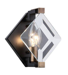 "6"" Black Square with Glass Wall Sconce"