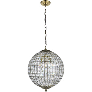 "16"" Vintage Gold with Crystal Pendant - LV LIGHTING"