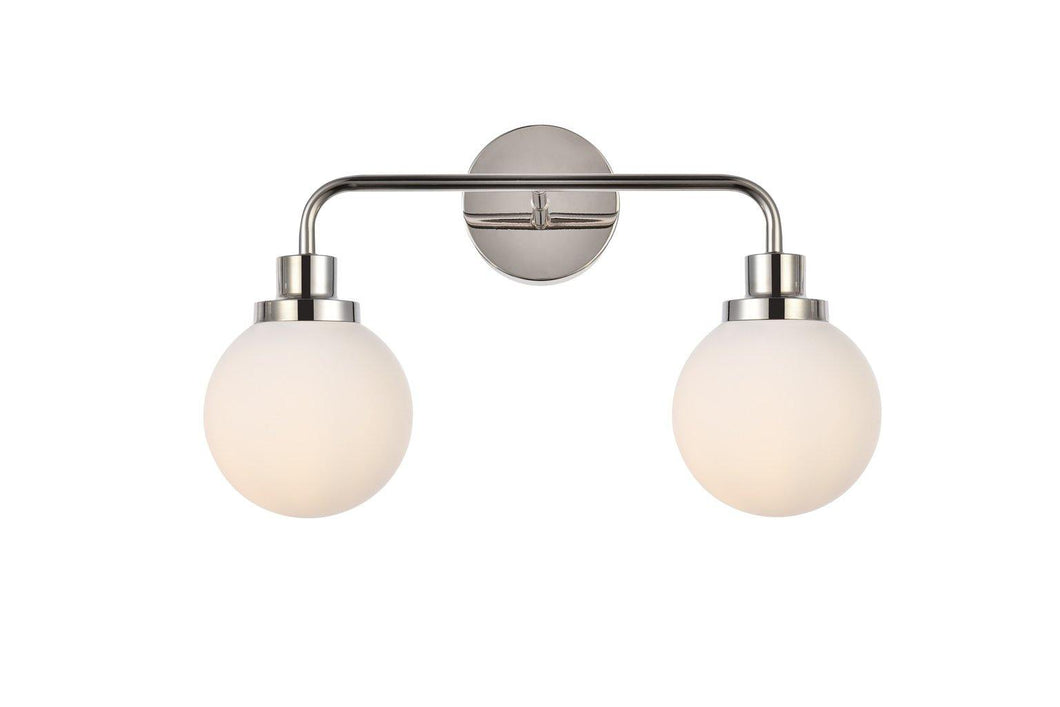 Polish Nickel with Frosted Shade Vanity Light