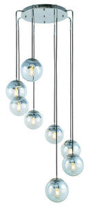 "30"" Polished Nickel with Clear Shade Multiple Pendant"