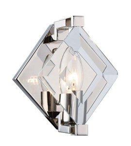 "6"" Polished Nickel with Glass Wall Sconce"