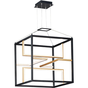 "18"" LED Black and Gold Cube Cage Pendant (Black Friday Deal!)"