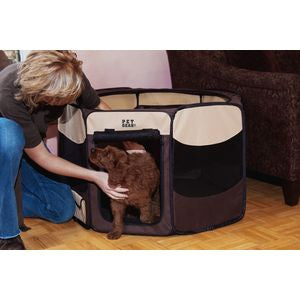 Travel Light Soft-Sided Pet Pen with Removable Top - up to 60 lbs. - Sahara Brown