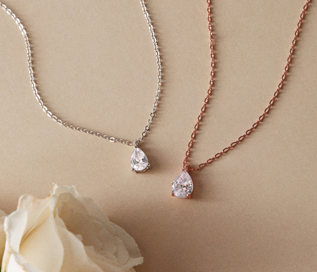 Pear Shaped Lab Grown Diamond Necklace