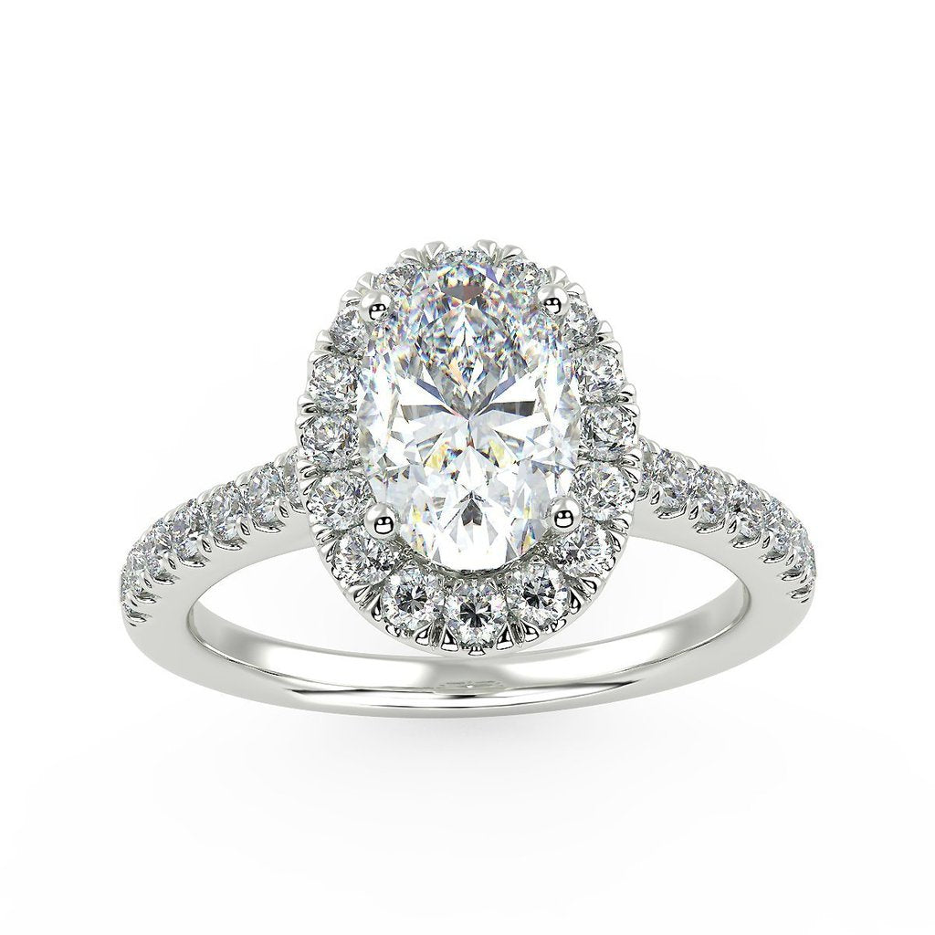 Oval halo engagement ring with lab grown diamonds