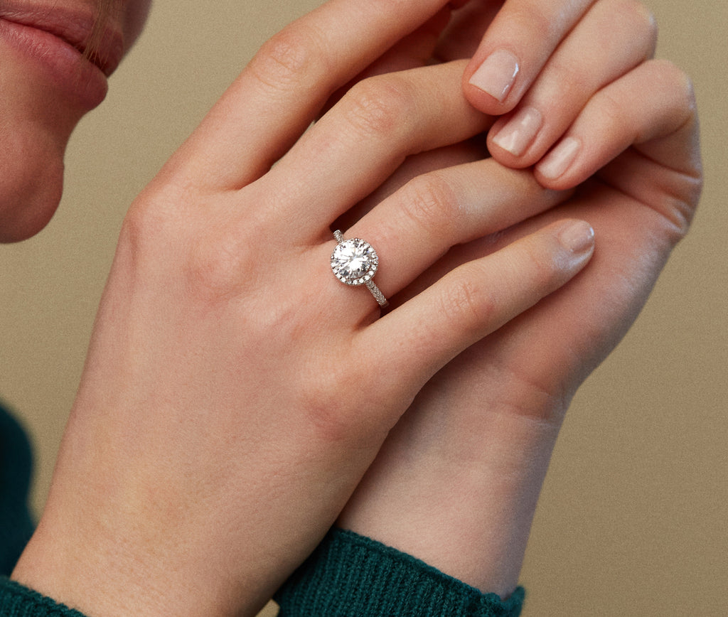 Affordable Halo Engagement Ring with Lab Grown Diamonds