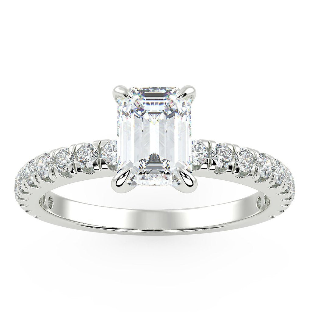 Emerald cut engagement ring with lab grown diamonds