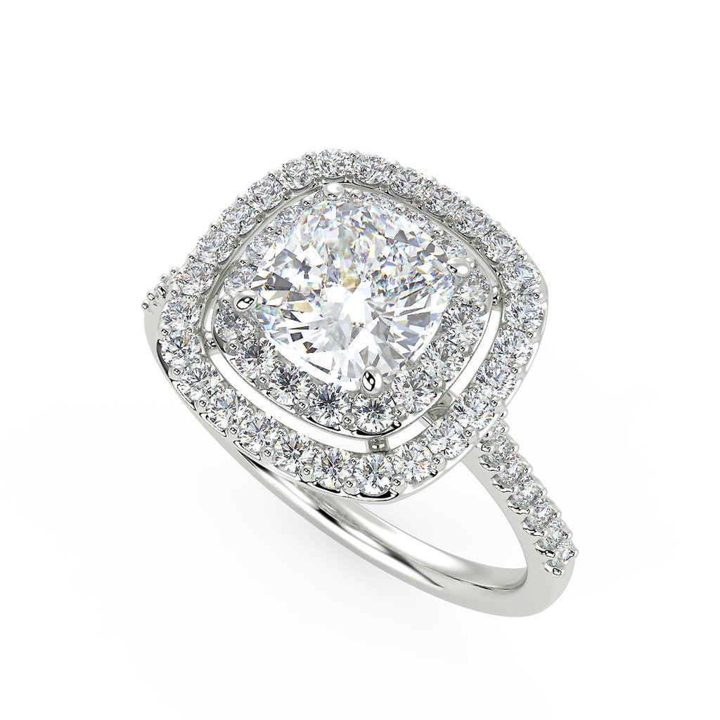 Double halo engagement ring with lab grown diamonds
