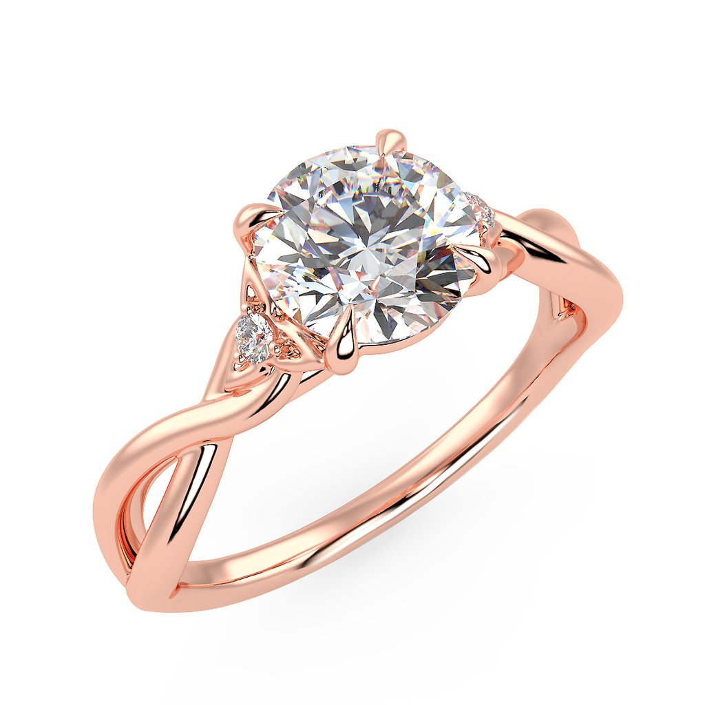 Twist engagement ring with Celtic love knot