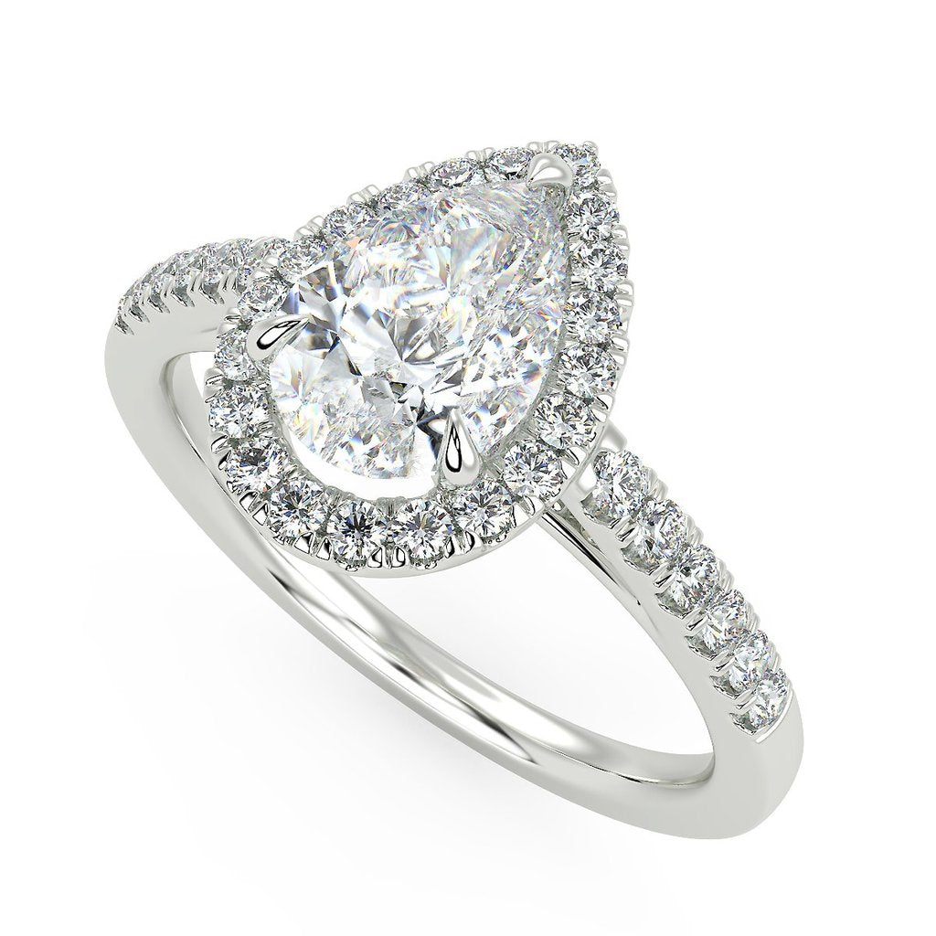 Pear shaped engagement ring with lab grown diamonds