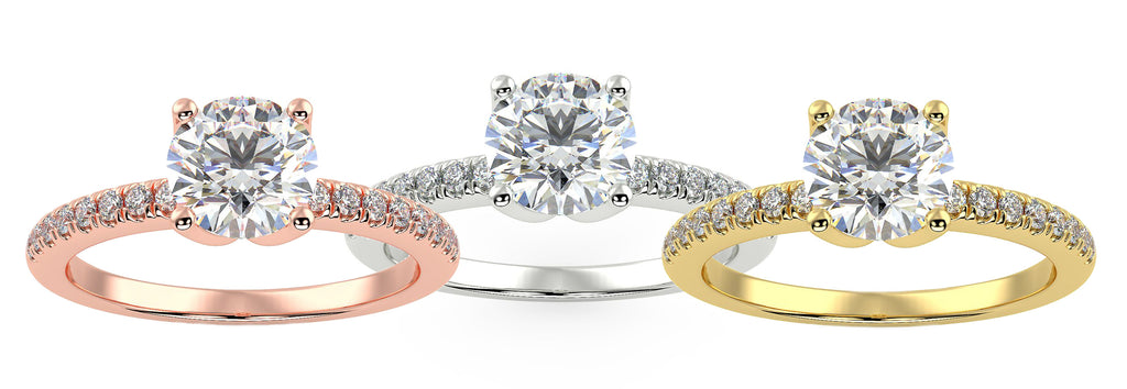 One engagement ring in three different colors of gold