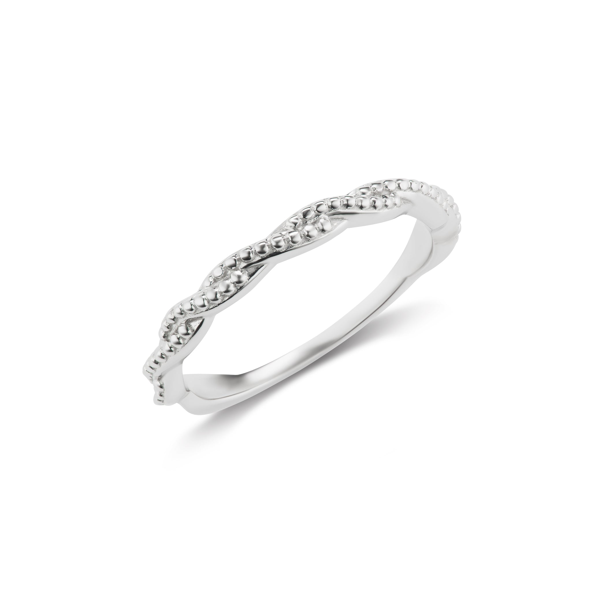 Twist Band Ring in White Gold