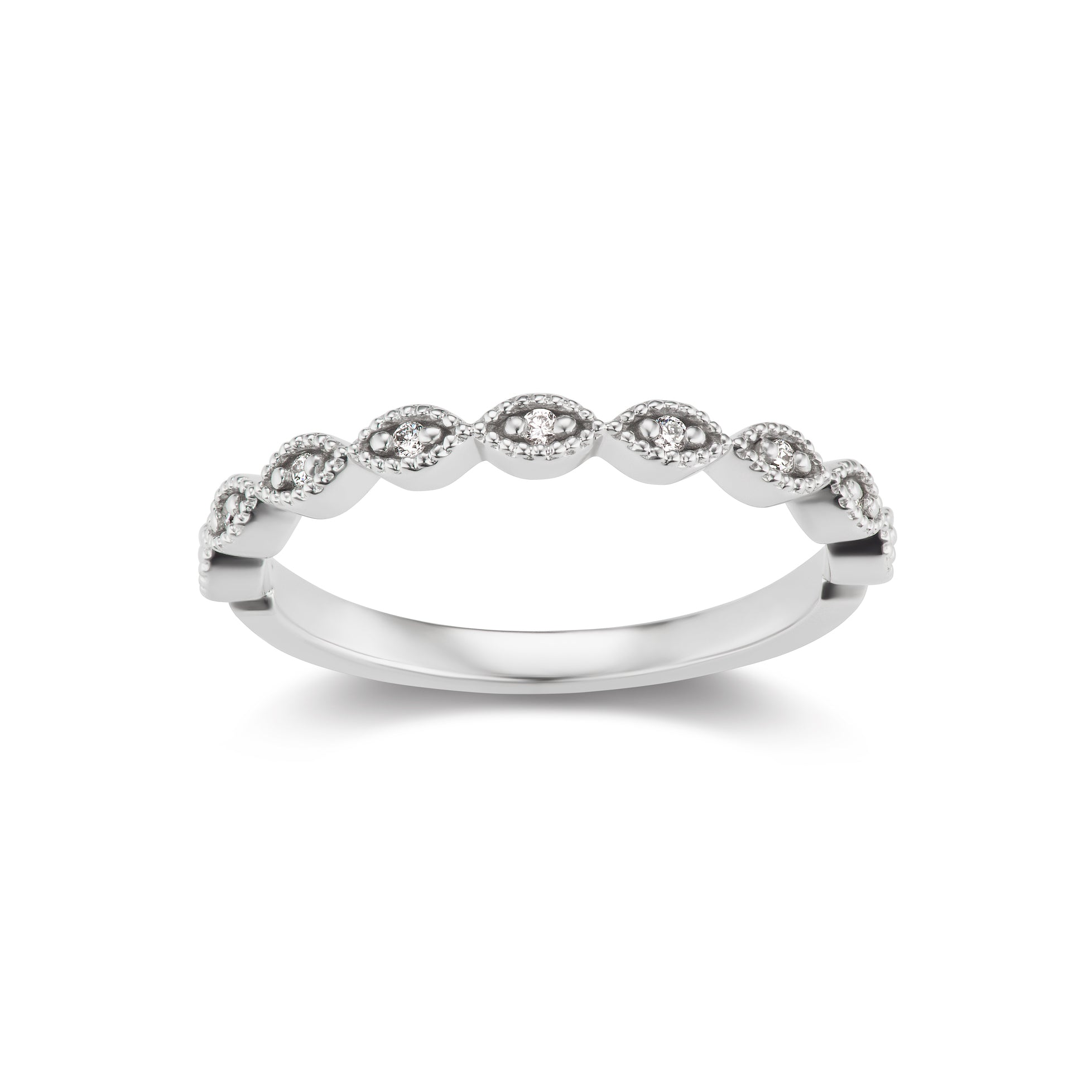 Navette Band Ring in White Gold