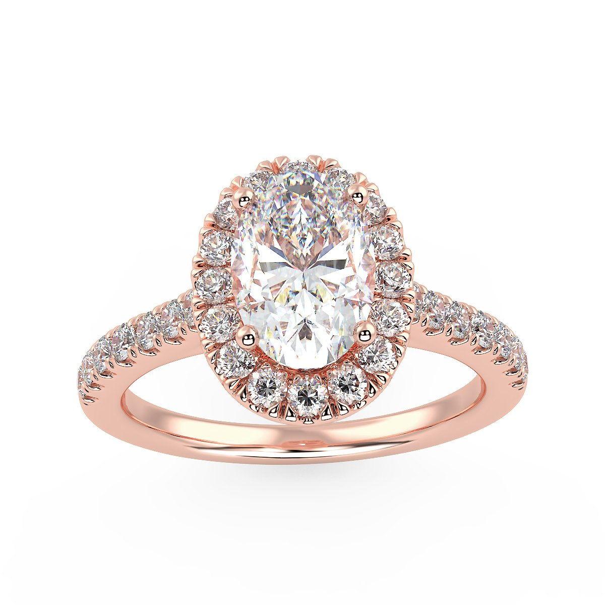 Ellipse Engagement Ring in Rose Gold