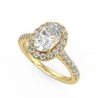 Ellipse Engagement Ring in Yellow Gold