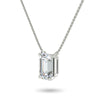 Midnight Emerald Cut Necklace in White Gold