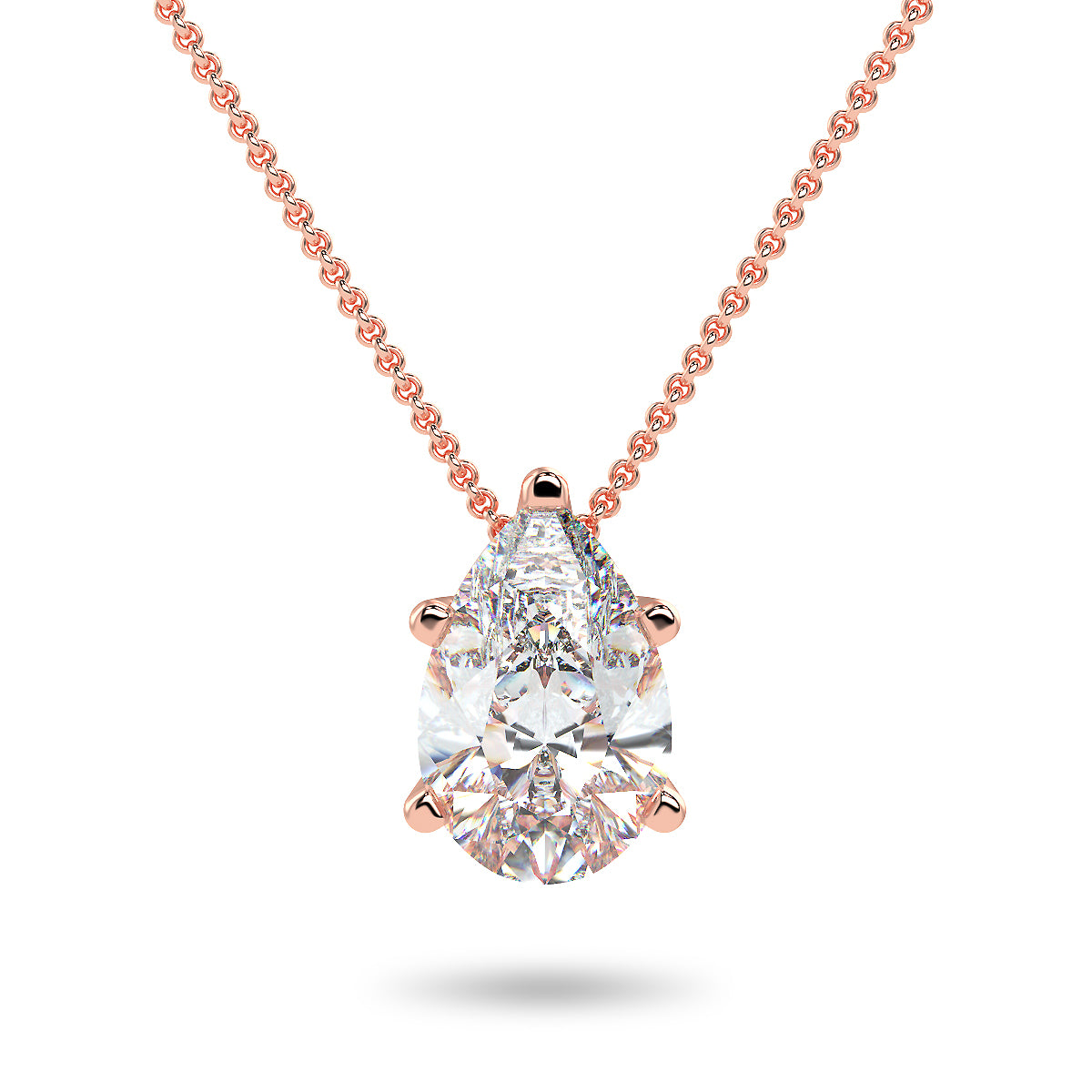 Sirius Pear Necklace - Rose Gold (0.33 - 2.00 Ct. Tw.)