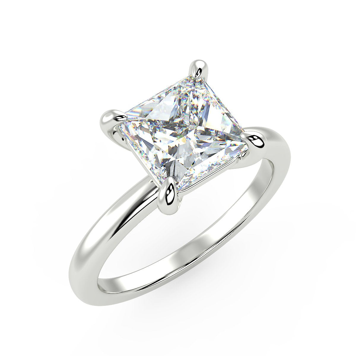 Sirius Princess Engagement Ring in White Gold