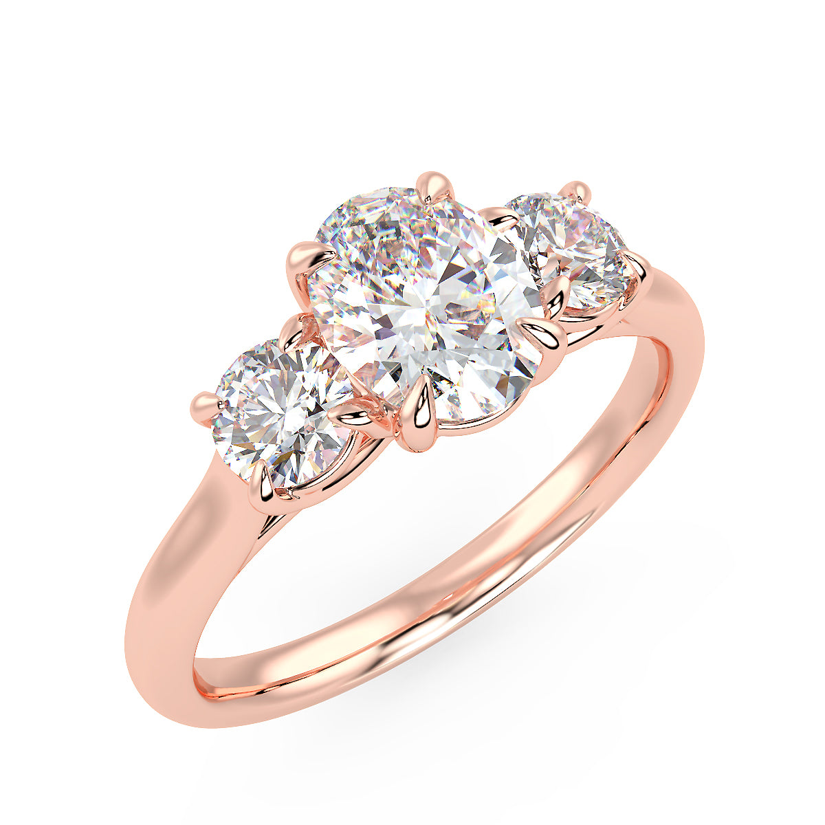 Centauri Oval Three-Stone Ring in Rose Gold