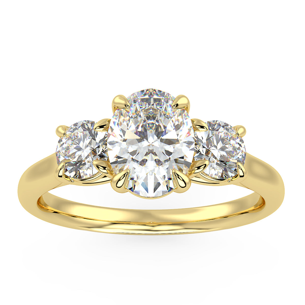 Centauri Oval Three-Stone Ring in Yellow Gold