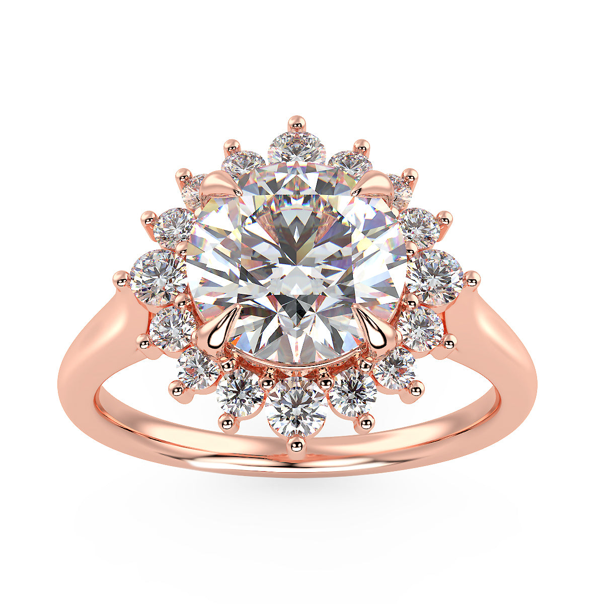 Starburst Engagement Ring in Rose Gold
