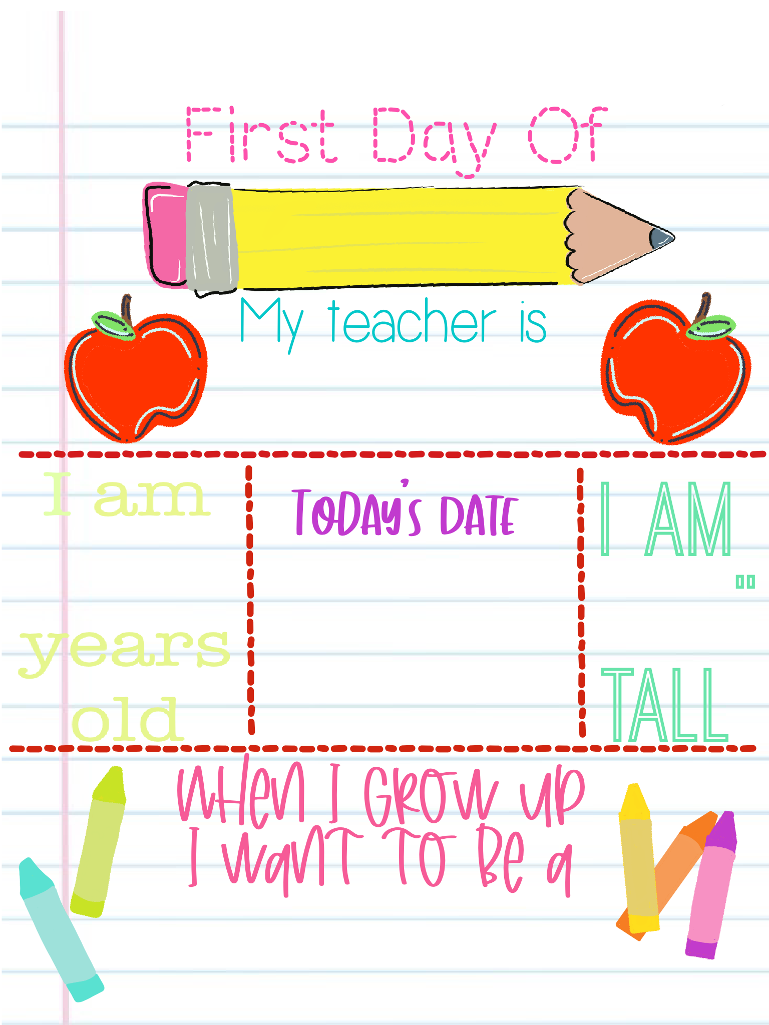 Girls First Day printable 1