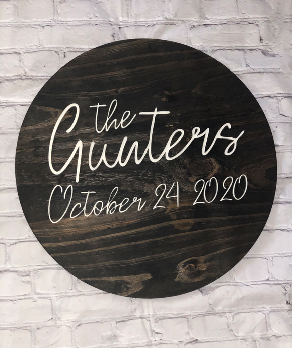 Personalized Round Wood Sign