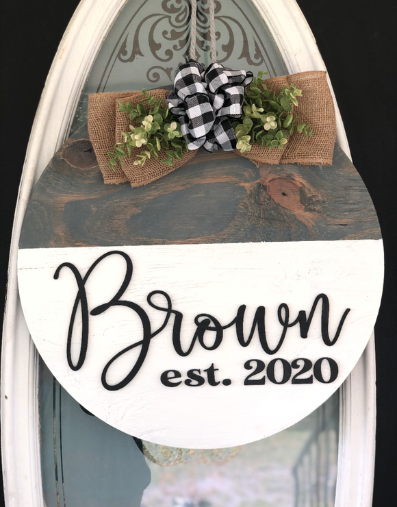 Two Tone Round Personalized Wood Sign