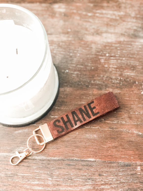 Personalized Leather Key Fob