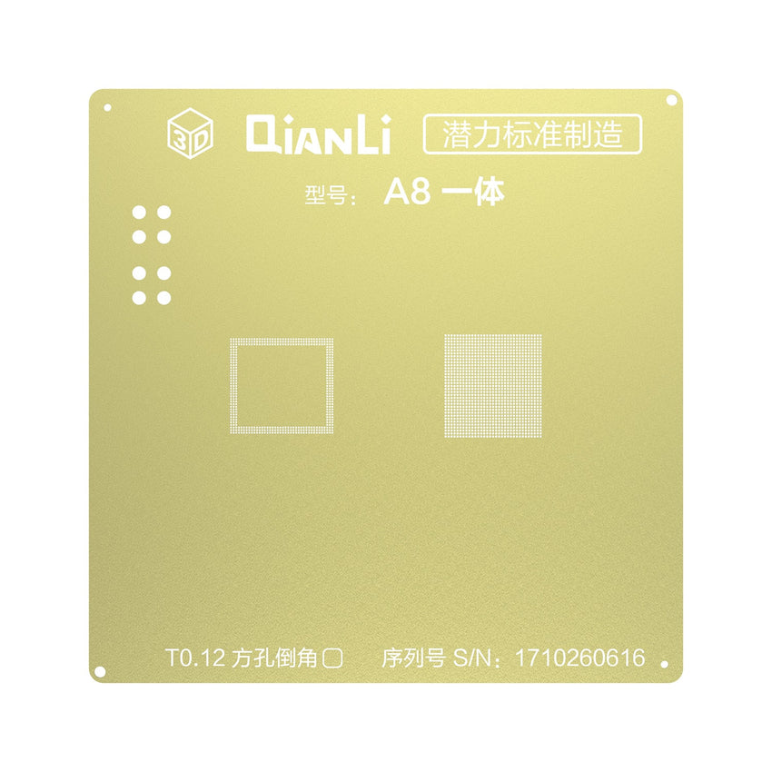 Qianli 3D CPU BGA Reball Gold Stencil For A8 A9 A10 A11