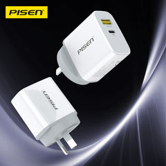 Pisen Dual Port Type C and Type A 18W QC PD Wall Charger
