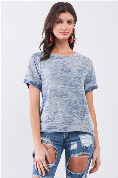 Blue Folded Sleeve Relaxed Fit T-Shirt