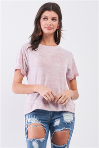 Mauve Folded Sleeve Relaxed Fit T-Shirt