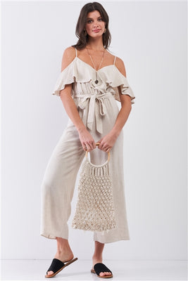 Oatmeal Natural Linen Off-The-Shoulder Wide Leg Maxi Jumpsuit