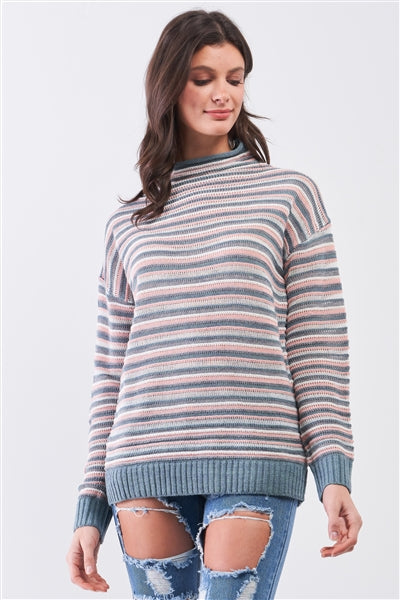Teal & Pink Stripped Turtle Neck Multi-Knit Sweater